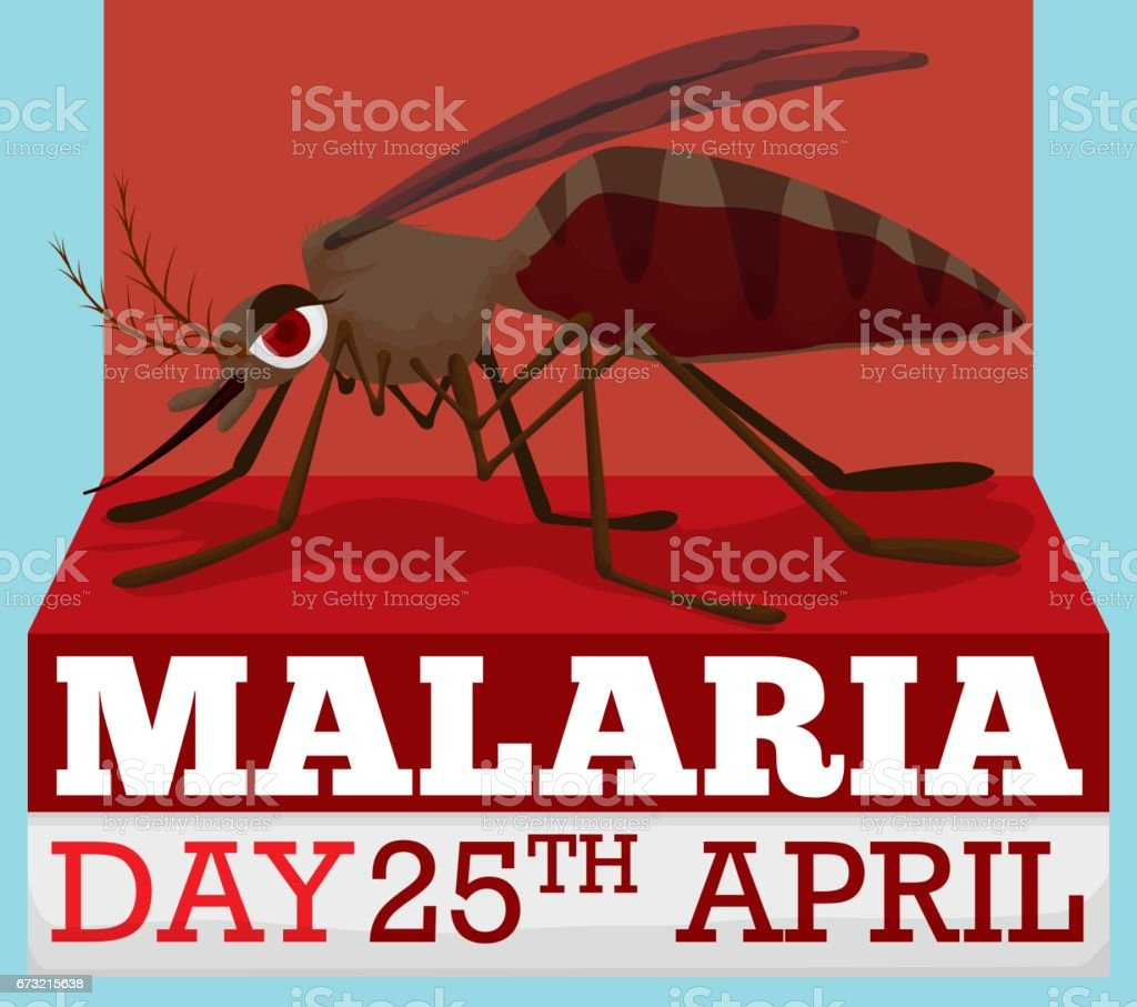 Cartoon Design with Mosquito for World Malaria Day in April векторная иллюстрация