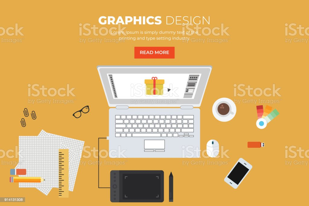 Cartoon Designer Workplace vector art illustration