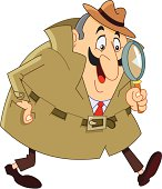 A cartoon detective in a hat with a large magnifying glass