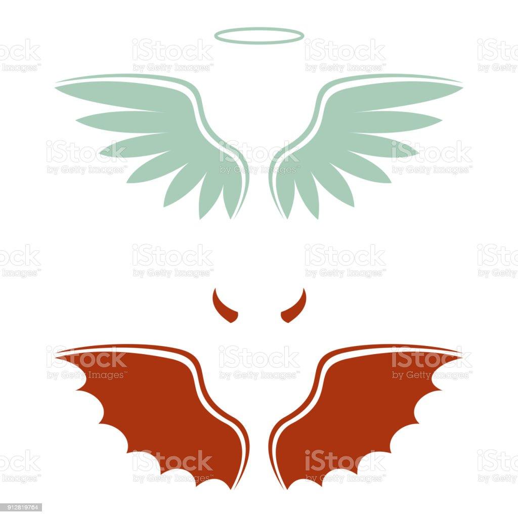 Cartoon Duivel En Engel Goede En Slechte Keuze Vleugels