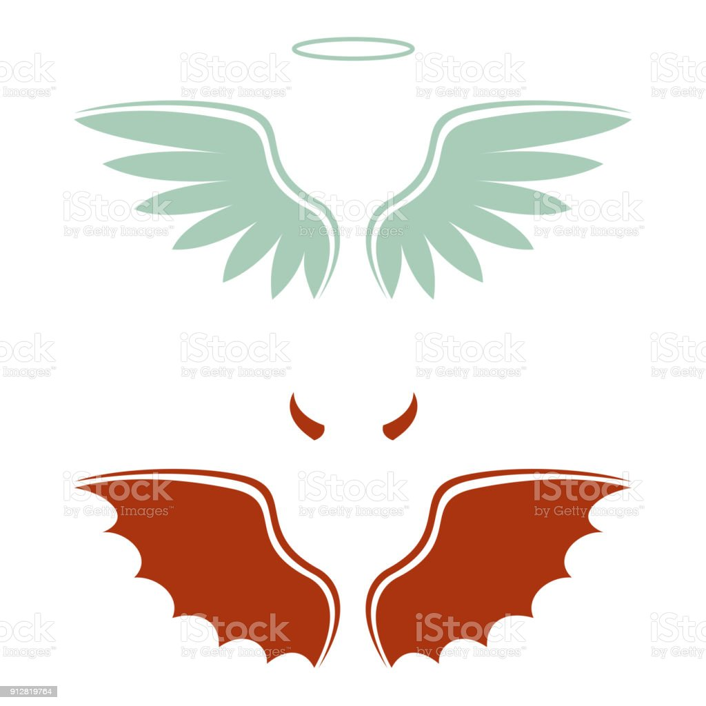 cartoon devil and angel, good and bad choice, wings, horns and halo vector art illustration
