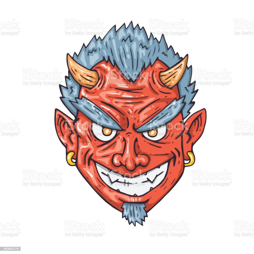 Cartoon Devil Face Illustration For Print And Web Royalty Free