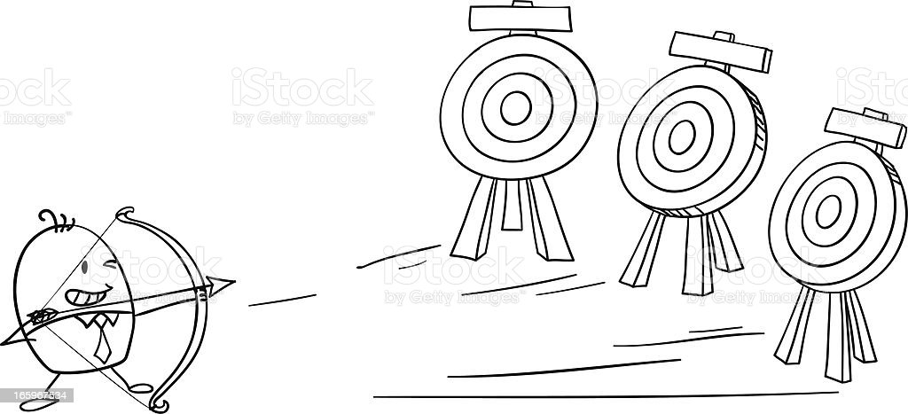 Cartoon Diagram Of A Man Playing Archery Stock Vector Art More