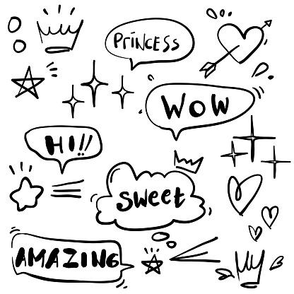 Cartoon dialogs cloud with princess elements doodle style