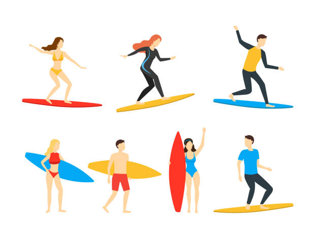 Cartoon Different Characters People Surfers Set. Vector Cartoon Different Characters People Surfers Set Surf Activity, Extreme Leisure Concept Flat Design. Vector illustration of Man and Woman surf stock illustrations