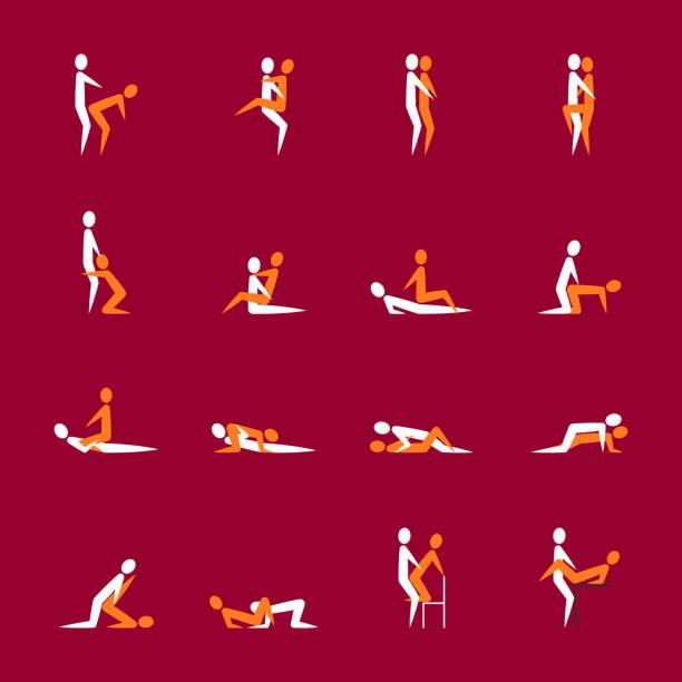 cartoon sex verschiedenen posen oder paar eingestellte position. vektor - liebespaar stock-grafiken, -clipart, -cartoons und -symbole