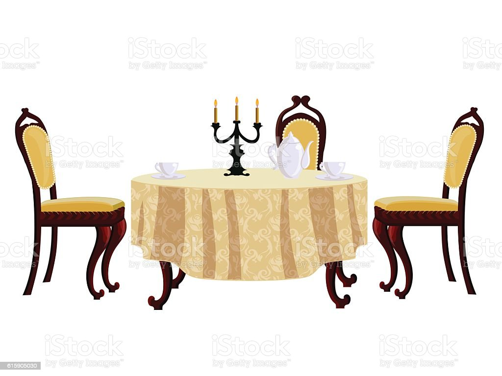 Cartoon Dining Table And Chair In Vintage Style Stock Vector Art