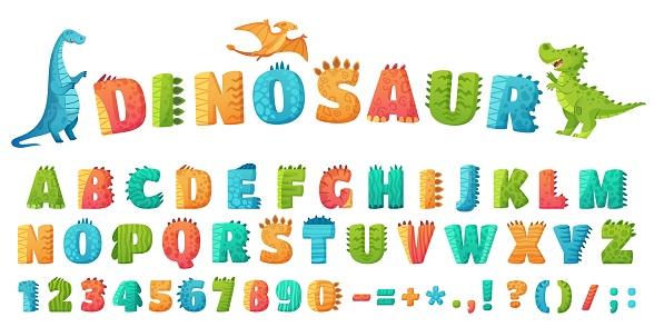 Cartoon dino font. Dinosaur alphabet letters and numbers, funny dinos letter signs for nursery or kindergarten kids vector illustration set