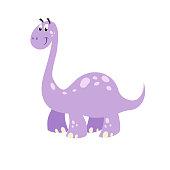 Cartoon dinosaur brachiosaurus. Flat cartoon style diplodocus drawing. Best for kids dino party designs. Prehistoric Jurassic period character. Vector illustration isolated on white.