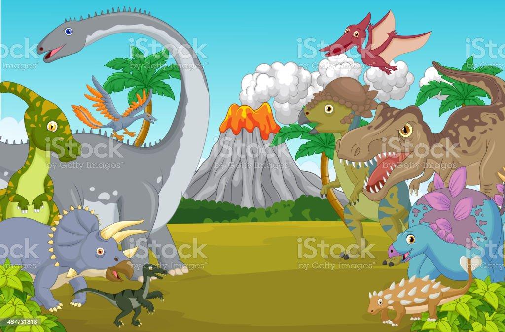 Dinosaure En Dessin Animé Avec Caractère Le Volcan Vecteurs