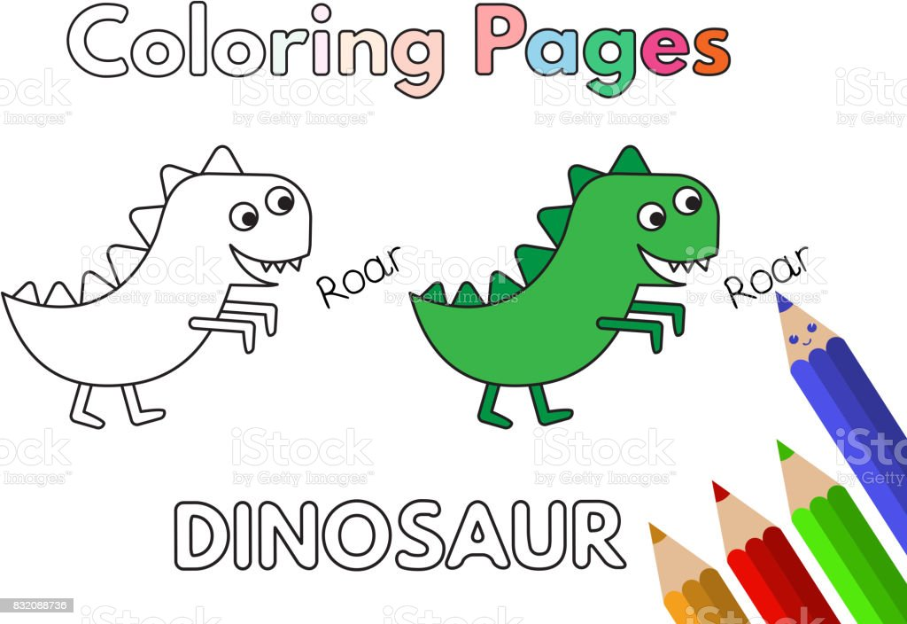 çizgi Film Dinozor Boyama Kitabı Stok Vektör Sanatı Anaokulunin