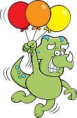 Cartoon dinosaur floating while holding balloons.