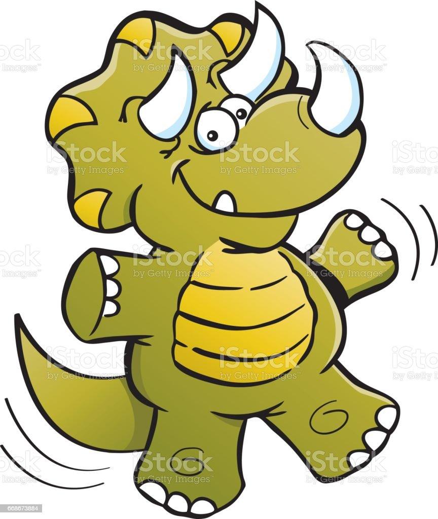 Cartoon dinosaur jumping.