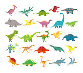Cartoon dinosaurs. Baby dino prehistoric animals. Cute dinosaur, jurassic period animal stegosaurus brachiosaurus, trex and pterosaurs. Dino character colorful vector isolated icons collection