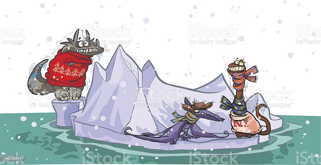 Cartoon dinosaurs in iceberg. vector art illustration