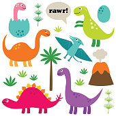 Cartoon dinosaurs, isolated, colorful vector set