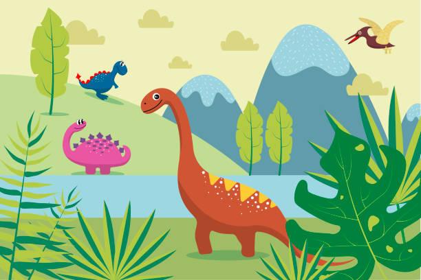45+ Cute Dinosaur Clipart Scene