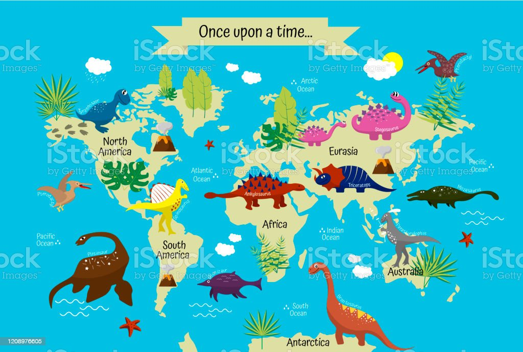 Picture of: Cartoon Dinosaurs With Names On Modern World Map Continents And Oceans Geography For Preschoolers And Schoolchildren Stock Illustration Download Image Now Istock
