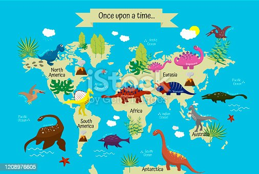 Cartoon dinosaurs with names on modern world map. Continents and oceans. Geography for children, preschoolers and schoolchildren