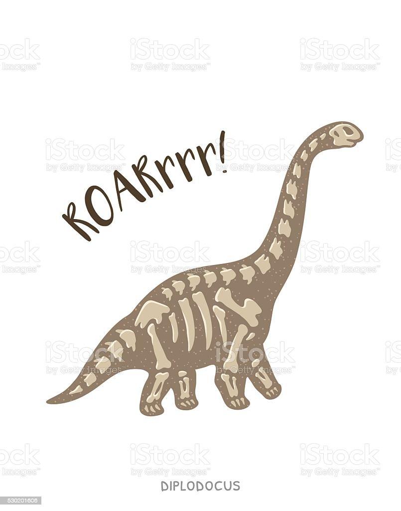 Coloriage Dinosaure Fossiles.Diplodocus Fossile De Dinosaure En Dessin Anime Illustration