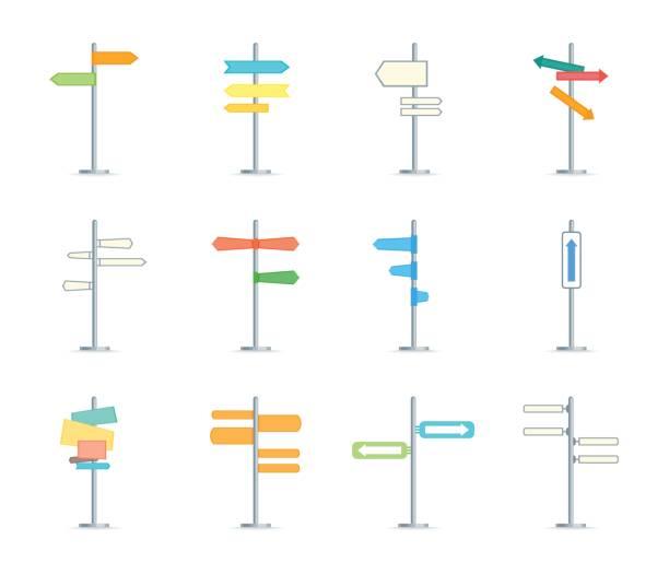bildbanksillustrationer, clip art samt tecknat material och ikoner med cartoon riktning tecken färg ikoner set. vektor - stock arrow