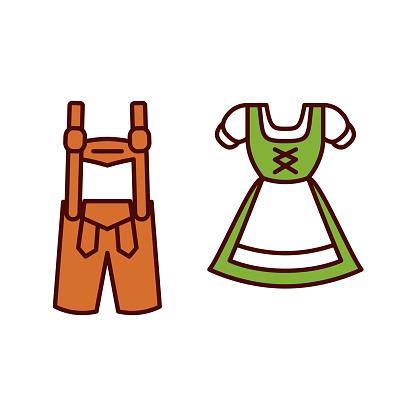 Cartoon Dirndl And Lederhosen Emoji Icon Isolated
