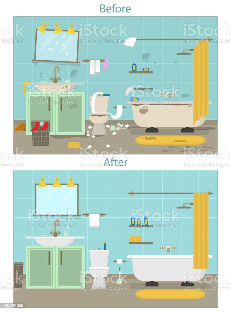 Cartoon Dirty Organized And Clean Bathroom For Cleaning Room Service Card Poster Vector Royalty