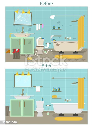 Cartoon Dirty Organized And Clean Bathroom For Cleaning Room Service Card Poster Vector Stock Art More Images Of Advertisement 932651096