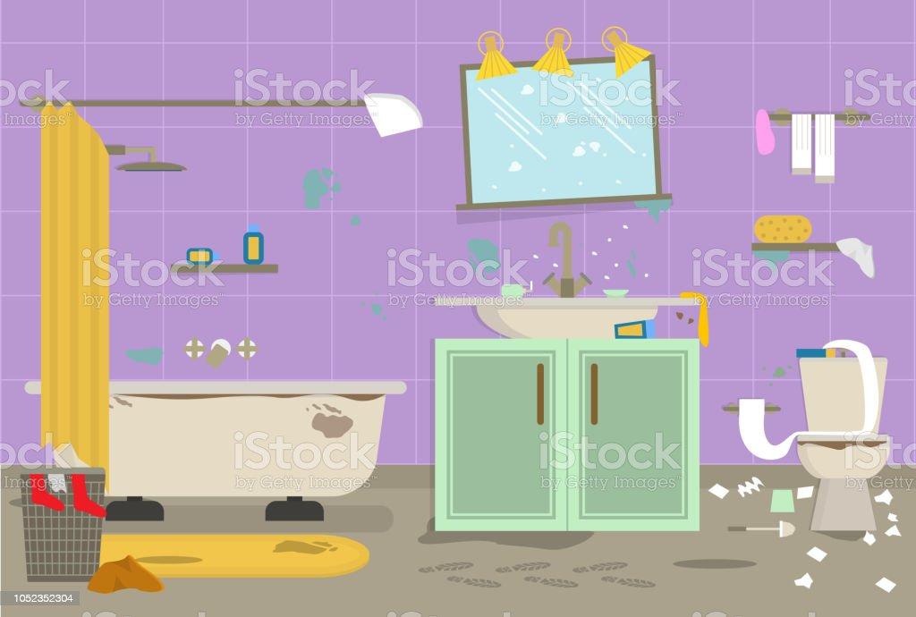 Ilustración De Dibujos Animados Sucio Baño Organizado Para La
