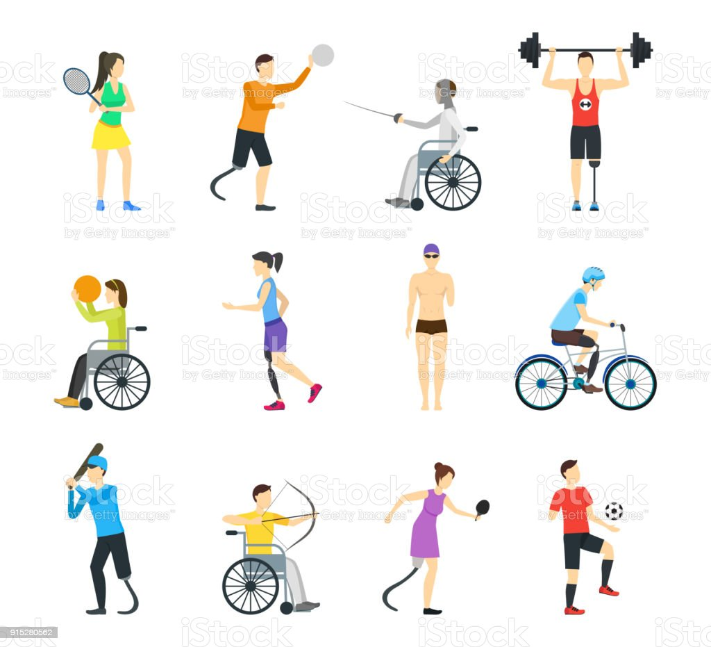 Cartoon Disabled Sports Characters Icon Set. Vector vector art illustration