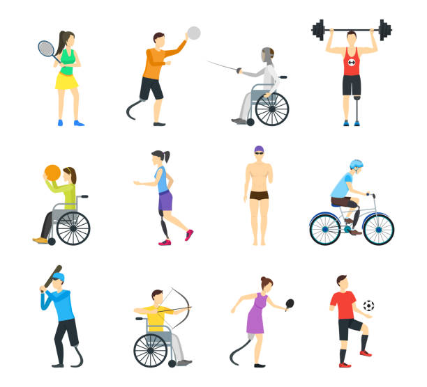 cartoon disabled sports characters icon set. vector - wheelchair sports stock illustrations, clip art, cartoons, & icons