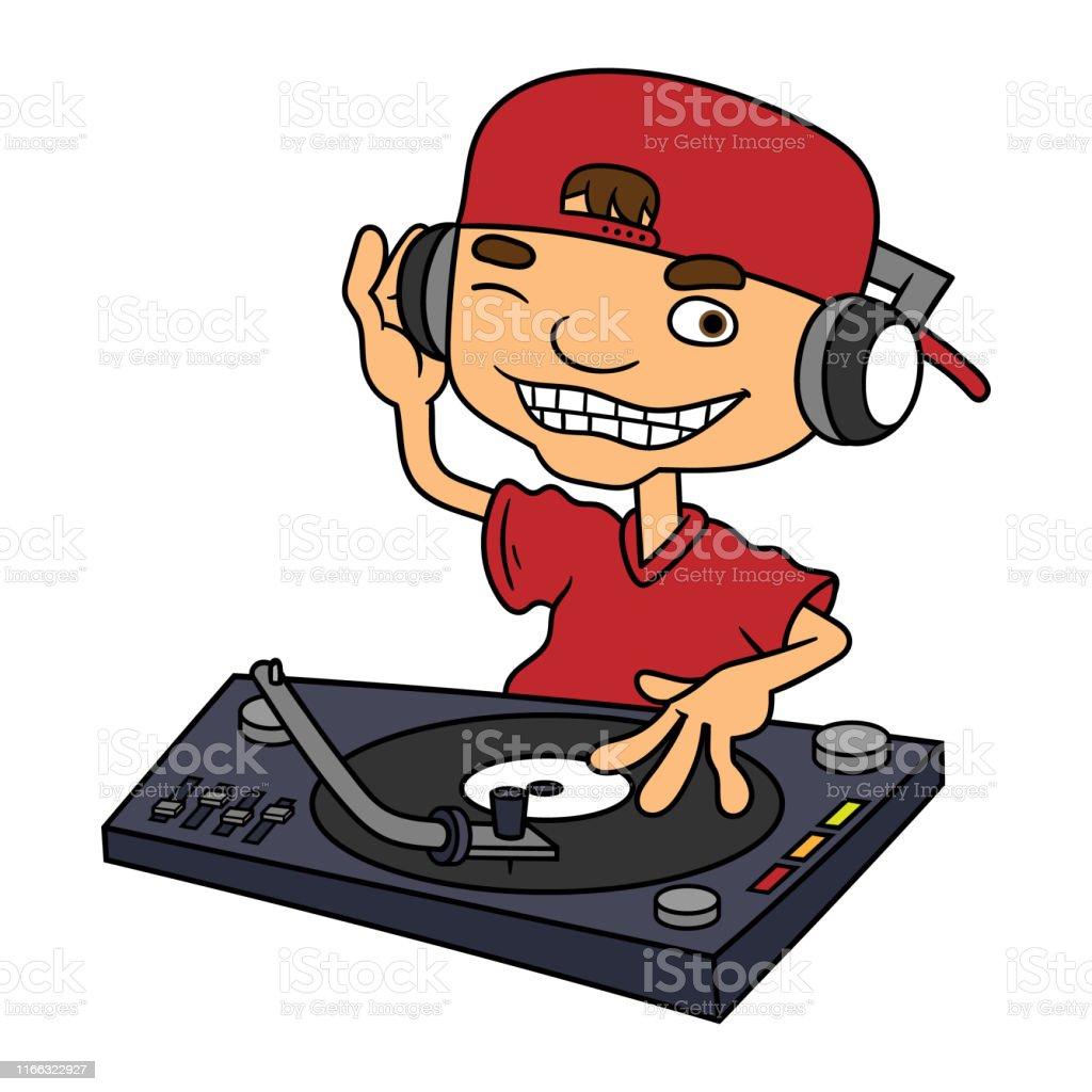 Skull Cartoon Disk Jockey Happy Playing Stock Vector (Royalty Free)  1657020745