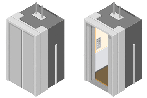 Cartoon display image of an elevator