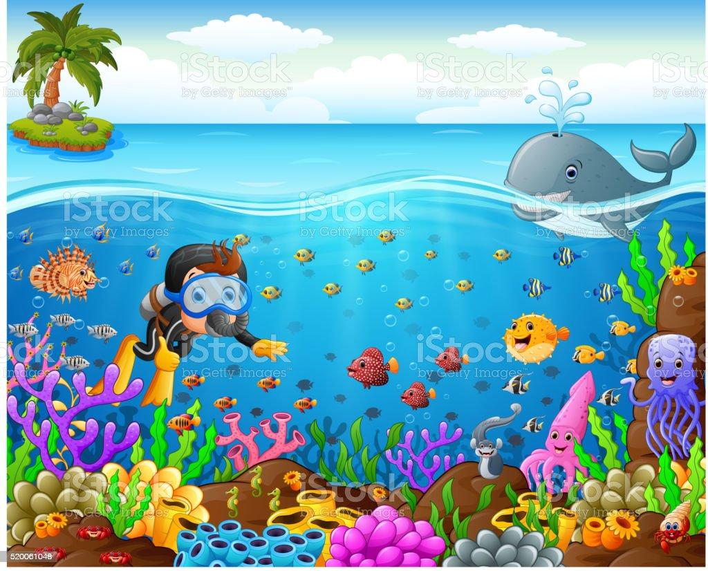 cartoon diver under the sea vector art illustration