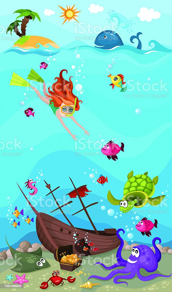 Cartoon diver under the sea with various sea life  royalty-free stock vector art