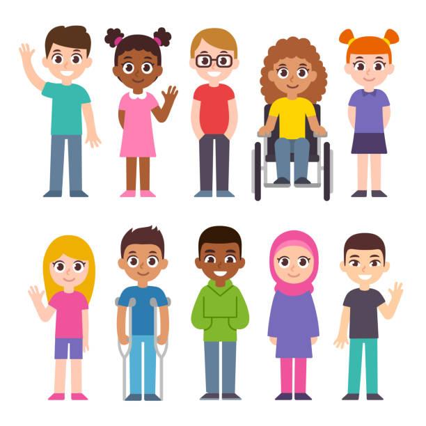 Cartoon diverse children set vector art illustration