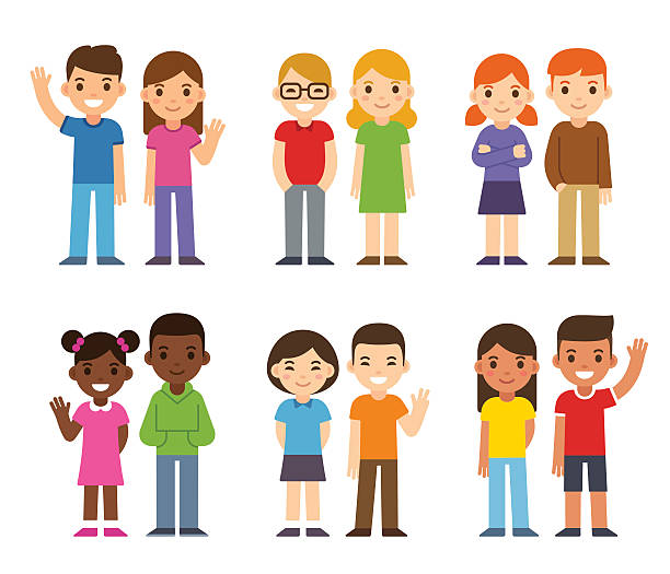 cartoon diverse children - cartoon kids stock illustrations, clip art, cartoons, & icons