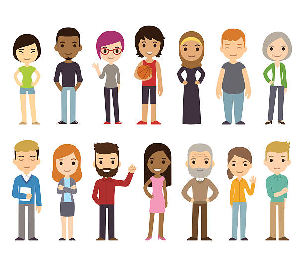Cartoon diverse people Set of diverse vector people. Men and women, young and old, different poses. Cute and simple modern flat cartoon style. cartoon people stock illustrations