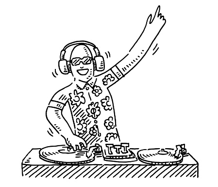 Hand-drawn vector drawing of a Cartoon DJ At Work. Black-and-White sketch on a transparent background (.eps-file). Included files are EPS (v10) and Hi-Res JPG.