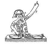istock Cartoon DJ At Work Drawing 1291197931