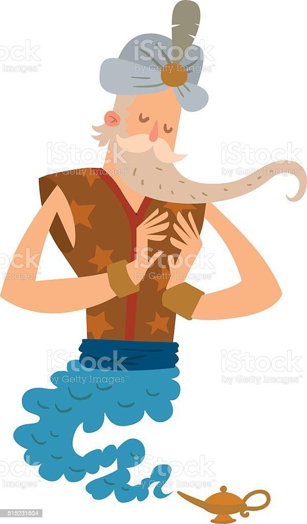 カットイラスト古い男性 ジン 注目の魔法のランプ あごヒゲのベクター