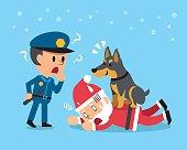 Cartoon doberman dog helping policeman to catch santa claus
