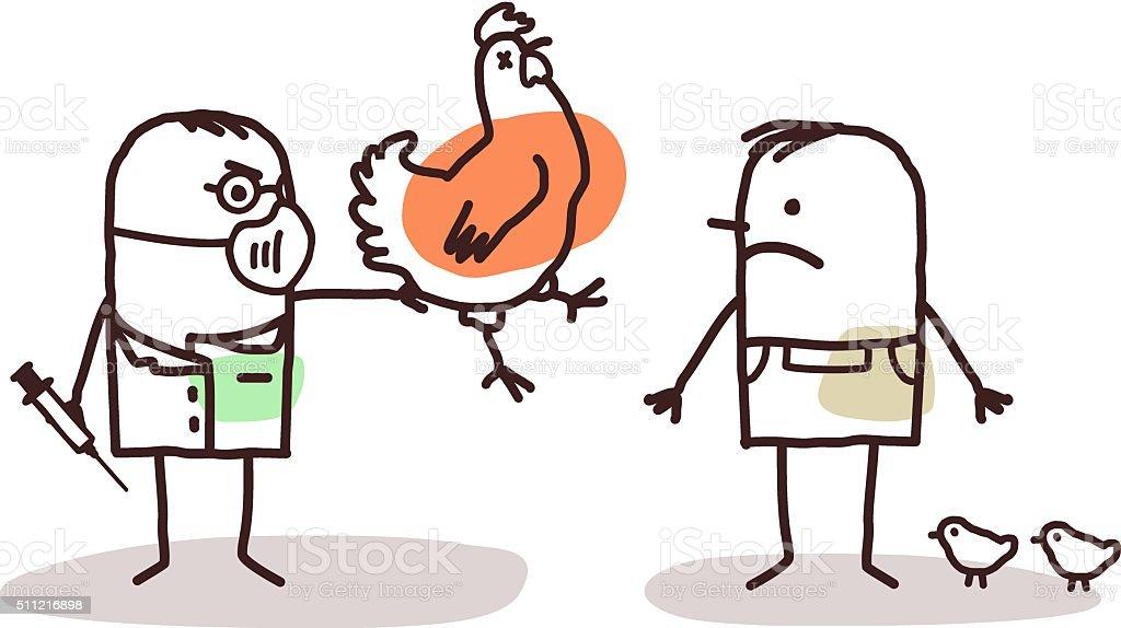 cartoon doctor and farmer with sick chicken vector art illustration