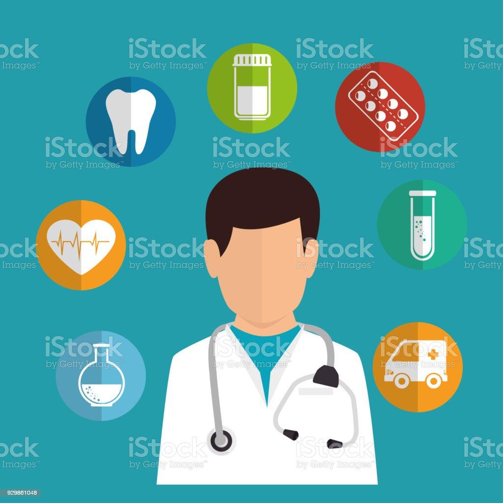 Ilustración De Dibujos Animados Iconos De Doctor Medicina
