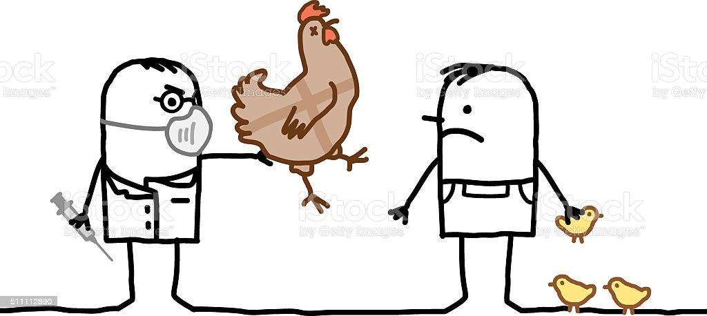 cartoon doctor & man with sick chicken and Avian Flu vector art illustration