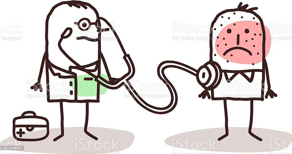 cartoon doctor with sick man vector art illustration