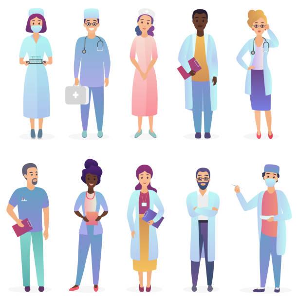 bildbanksillustrationer, clip art samt tecknat material och ikoner med cartoon läkare. sjukvårdsarbetare team. sjukhuspersonalen ställa isolerade. - allmänläkare