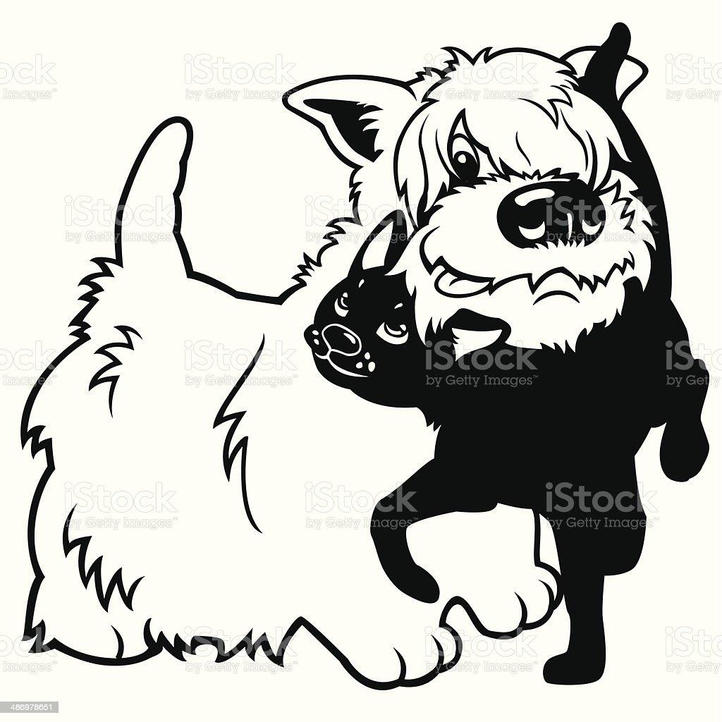 Ilustración De Dibujos Animados De Perro Y Gato Blanco Y Negro Y Más
