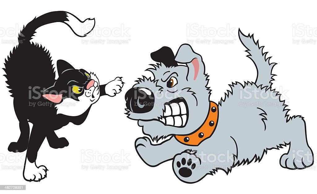 Cartoon Dog And Cat Fighting Stock Illustration Download Image Now Istock