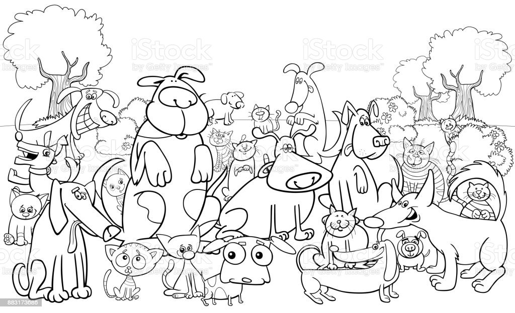 Cartoon Dog And Cats Characters Color Book Stock Vector Art & More ...